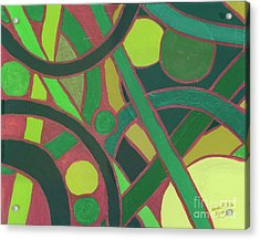 Acrylic Print featuring the painting Geometric Study Green On Copper by Ania M Milo
