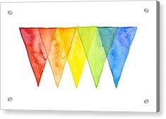 Geometric Watercolor Pattern Rainbow Triangles Acrylic Print by Olga Shvartsur
