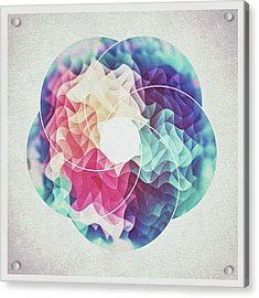 Geometry Triangle Wave Multicolor Mosaic Pattern Hdr   Low Poly Art  Acrylic Print by Philipp Rietz