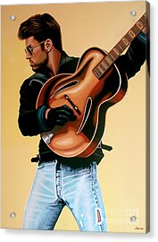 George Michael Painting Acrylic Print by Paul Meijering