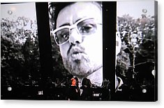Acrylic Print featuring the photograph George Michael Sends A Kiss by Toni Hopper