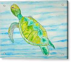 Acrylic Print featuring the painting George The Hawaiian Sea Turtle by Erika Swartzkopf