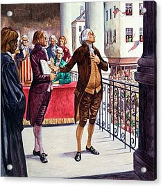 George Washington Being Sworn In As President Of The United States Acrylic Print by Peter Jackson