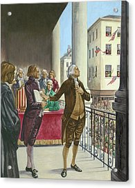 George Washington Being Sworn In As The First President Of America In New York Acrylic Print by Peter Jackson