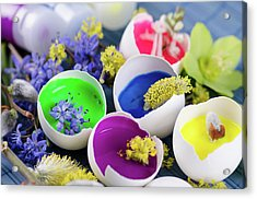 Georgeous Easter Decoration With Egg Shells And Paints Acrylic Print by Dariya Angelova