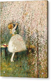Georges Picard French 1857 1946 Romance Under The Blossom Tree Acrylic Print