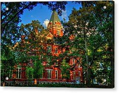 Acrylic Print featuring the photograph Georgia Tech Tech Tower Sunset Ga Tech Administration Building Atlanta Art by Reid Callaway