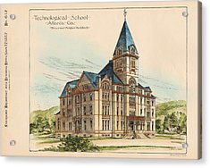 Georgia Technical School. Atlanta Georgia 1887 Acrylic Print by Bruce and Morgan