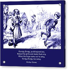 Acrylic Print featuring the painting Georgy Porgy Mother Goose Illustrated Nursery Rhyme by Marian Cates