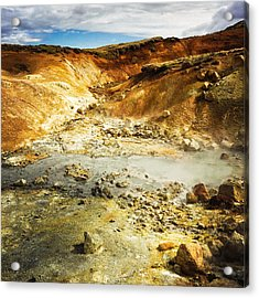 Geothermal Area In Reykjanes Iceland Acrylic Print