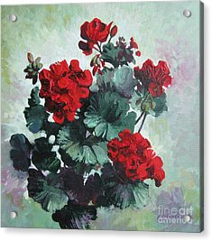 Acrylic Print featuring the painting Geranium by Elena Oleniuc