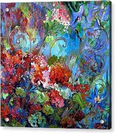 Geranium Garden Acrylic Print by Elaine Cory
