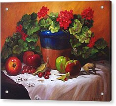 Geraniums And Apples Acrylic Print by Donna Munsch