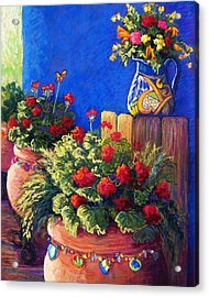 Geraniums And Talavera Acrylic Print