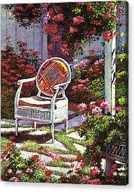 Geraniums And Wicker Acrylic Print by David Lloyd Glover