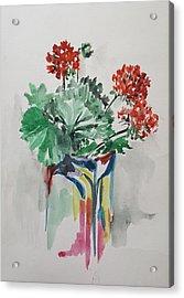 Geraniums In Vase Acrylic Print by Rita Fetisov