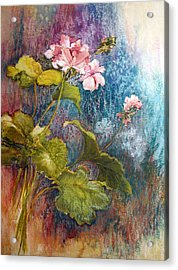 Geraniums Acrylic Print by Lois Mountz