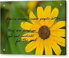 Gerber Daisy Quote Acrylic Print by JAMART Photography