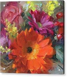 Gerber Daisy Study Acrylic Print by Anna Rose Bain