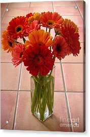 Gerbera Daisies - On Tile Acrylic Print by Lucyna A M Green