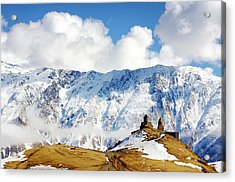 Acrylic Print featuring the photograph Gergeti Trinity Church by Fabrizio Troiani