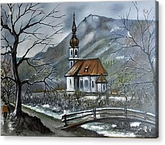 German Church At Ramsau  Acrylic Print
