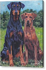 Acrylic Print featuring the painting German Pinschers by Lee Ann Shepard