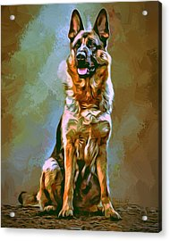 German Shepherd Painting Acrylic Print