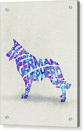 German Shepherd Dog Watercolor Painting / Typographic Art Acrylic Print