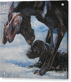 German Shorthaired Pointer And Puppy Acrylic Print