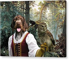German Wirehaired Pointer Art Canvas Print - Lady Owl And Little Bears Acrylic Print