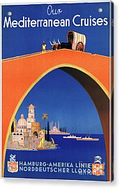 Germany Hamburg Vintage Travel Poster Restored Acrylic Print by Carsten Reisinger