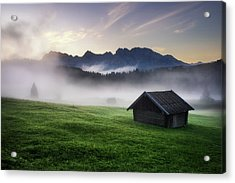 Geroldsee Forest With Beautiful Foggy Sunrise Over Mountain Peaks, Bavarian Alps, Bavaria, Germany. Acrylic Print