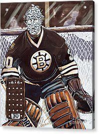 Gerry Cheevers Acrylic Print by Dave Olsen