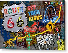 Get Your Kicks On Route 66 Icons Along The Highway Recycled Vintage License Plate Art Acrylic Print