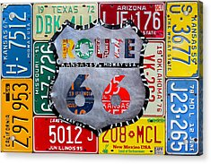 Get Your Kicks On Route 66 Recycled Vintage State License Plate Art By Design Turnpike Acrylic Print by Design Turnpike