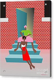Gettin Her Hair Did Acrylic Print by Walter Oliver Neal