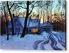 Acrylic Print featuring the painting Getting Late by Sergey Zhiboedov