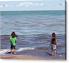 Acrylic Print featuring the painting Getting Their Feet Wet by Shawna Rowe