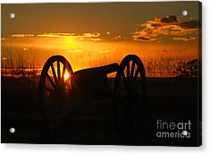 Gettysburg Cannon Sunset Acrylic Print by Randy Steele