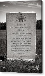 Gettysburg National Park First Pennsylvania Artillery Monument Acrylic Print by Olivier Le Queinec