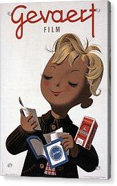 Gevaert Film - Little Boy With Photofilm - Vintage Belgian Advertising Poster Acrylic Print