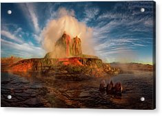 Geyser Steams At Dawn Acrylic Print