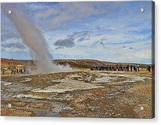 Geysir Hot Spring Acrylic Print by Allen Beatty