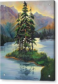 Acrylic Print featuring the painting Ghost Island Near Jasper by Marta Styk