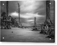 Ghosts Of Giants Above The Sand - Bw Acrylic Print
