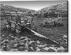 Ghost Wagons Of Bannack Montana Acrylic Print by Daniel Hagerman