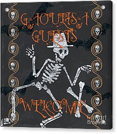Ghoulish Guests Welcome Acrylic Print by Debbie DeWitt