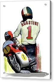 Acrylic Print featuring the painting Giacomo Agostini  Ago by Iconic Images Art Gallery David Pucciarelli