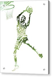 Giannis Antetokounmpo Milwaukee Bucks Water Color Pixel Art 1 Acrylic Print